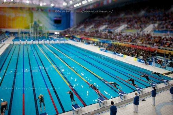 Here is a tilt shift shot of Dara Torres' start off of the blocks in her 50M silver medal race. Photograph by Vincent Laforet for NEWSWEEK