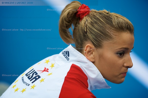 Alicia Sacramone was a bit despondent - but she did keep it together long enough to make it out away from the cameras. Photograph by Vincent Laforet for NEWSWEEK