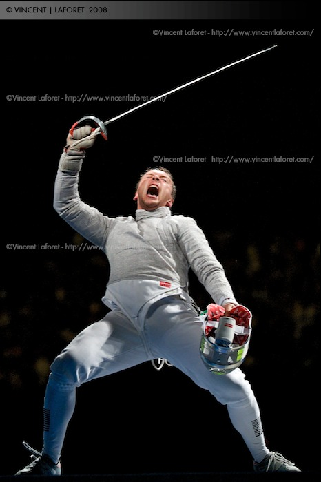 Julien Pillet reacts to winning the gold in the men's team sabre final against the U.S.A. Photograph by Vincent Laforet for NEWSWEEK