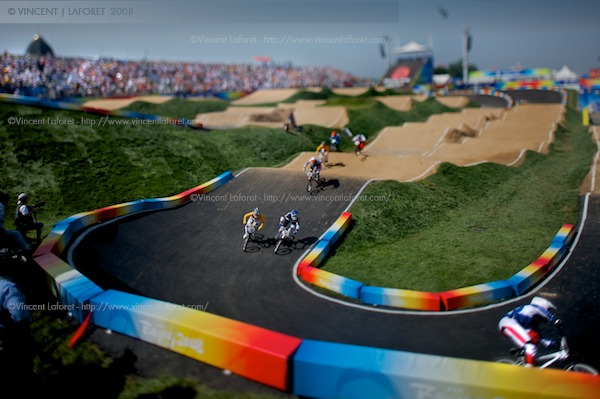 A tilt shift view of the first ever BMX Olympic Competition.  Photograph by Vincent Laforet for NEWSWEEK