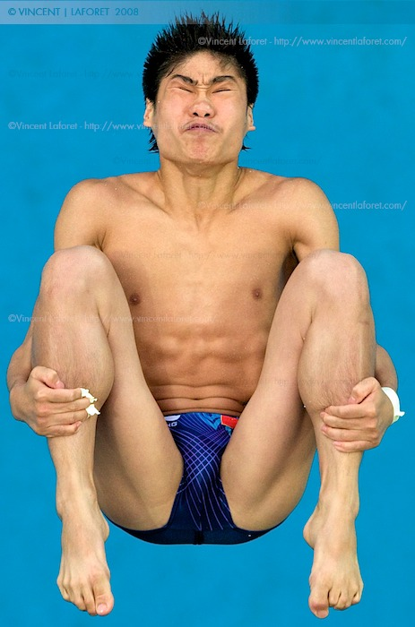 China's Liang Huo competes in the men's semifinal of the 10 meter diving competition. Photograph by Vincent Laforet for NEWSWEEK