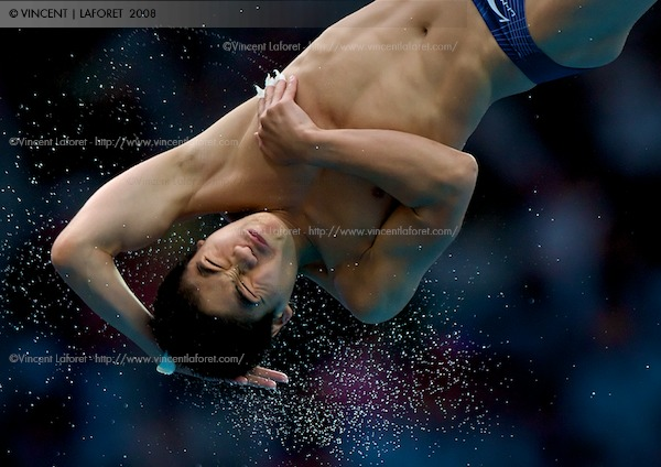 China's Liang Huo competes in the men's semifinal of the 10 meter diving competition. He was in first place and favored to win going into the final. Photograph by Vincent Laforet for NEWSWEEK