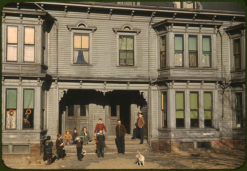 Children in the tenement district. Brockton, Massachusetts, December 1940. Reproduction from color slide. Photo by Jack Delano. Prints and Photographs Division, Library of Congress