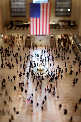 Early morning light fills the lobby of the Grand Central Terminal while commuters shuffle about, in Midtown Manhattan. Photo by Vincent Laforet