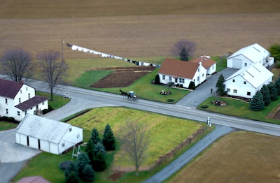 February 7th, 2008: Near Lancaster, PA, the Amish and Mennonite horse-drawn buggies share the road with modern vehicles.  Photo by Vincent Laforet
