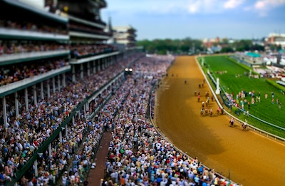 Tilt-Shift photographs of the 133rd running of the Kentucky Derby in Louisville, Kentucky. Jockey Calvin Borel and Street Sense immediately after their 2 1/4 length victory.  Photo by Vincent Laforet
