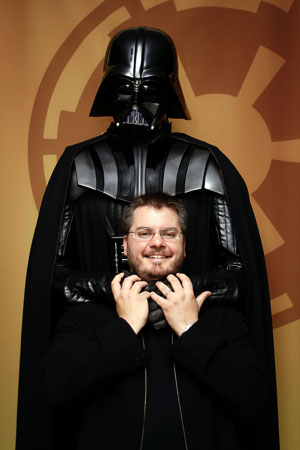 Here is am in the grasp of Darth Vader (not the economy!) at ILM - Photo by Stacey Leong/ILM